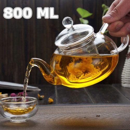 800ML Heat Resistant Glass Tea Pot Infuser Transparent Tea Set Flower Clear Chinese Kungfu Teapot Gift Tea Coffee Glass Kettle