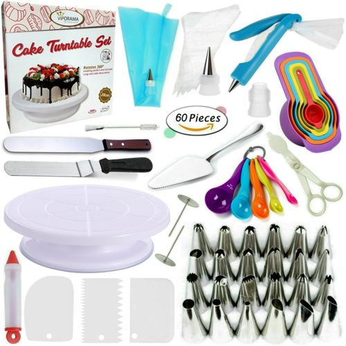 60 Pcs/set Cake Turntable Piping Tip Nozzle Pastry Bag Set