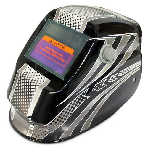Solar Energy Automatic Changeable Light Electric Welding Protective Helmet With Line Pattern-BLACK