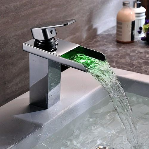 LED Chrome Bathroom LED Waterfall Spout Square Faucet Sink Basin Mixer