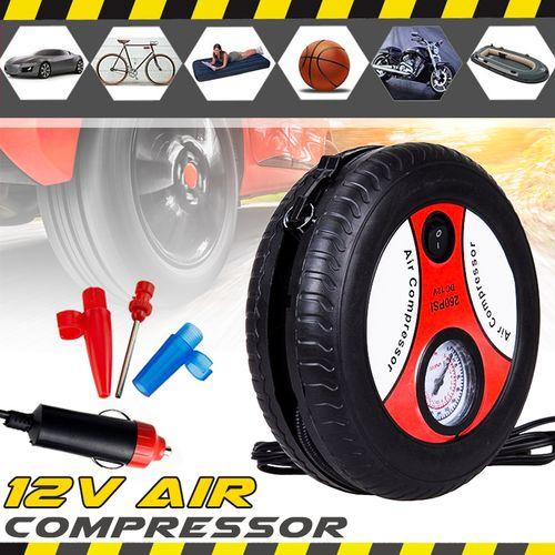 Portable Mini Car Air Compressor Auto Tire Pump Electric Machine 260PSI DC12V With Nozzle Adapter