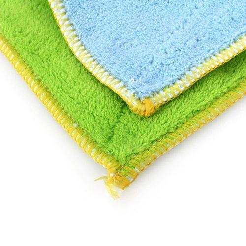 Superfine Fiber Double Suction Dishcloth Dish Cloth (green + Blue)