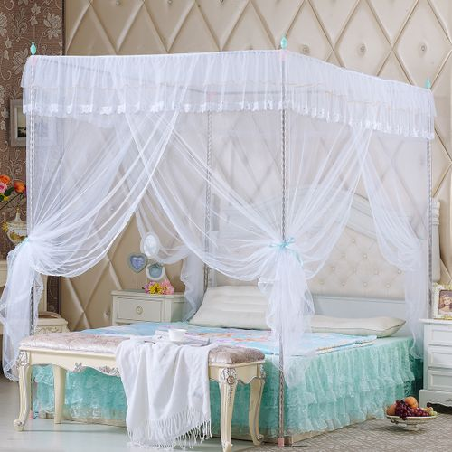 Lace Bed Canopy Mosquito Net Netting Tent 4 Corner Post Queen King Size Bedding Without Bracket
