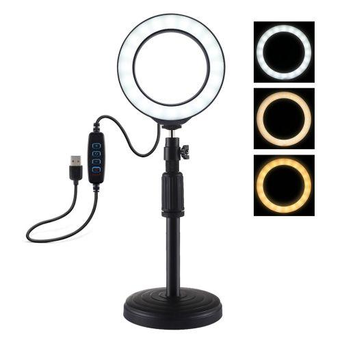 Round Base Mount + 4.7 Inch LED Ring Vlogging Video Light