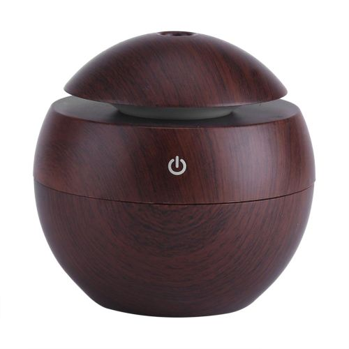 USB Essential LED Touch Aroma Ultrasonic Humidifier Oil Diffuser Air Purifier Brown