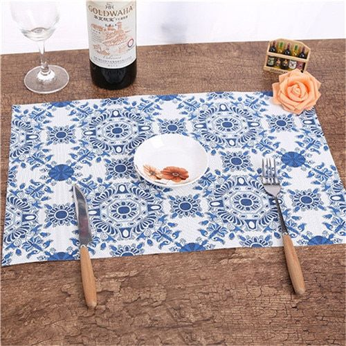 4pcs/set Placemat Japanese Style Printing Pvc Square Dining Table Placemats Coasters Waterproof Table Cloth Pad Slip Resi HIS