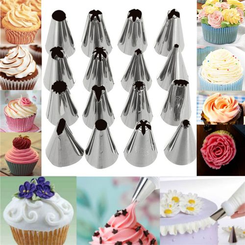 18PCS/Set Icing Piping Pastry Bag + 16 Stainless Steel Nozzle Set +1 Converter DIY Cake Decorating Cake Tools