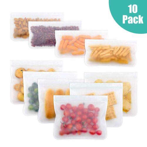 Reusable Storage Bags-10 Pack Leakproof Freezer Bag