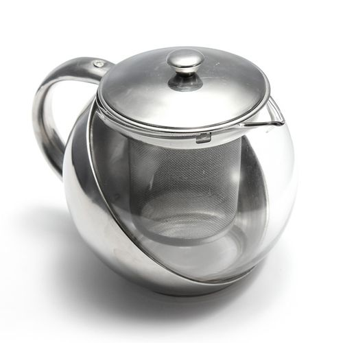 Modern Stylish Stainless Steel & Glass Teapot & LOOSE TEA LEAF INFUSER TEA POT !