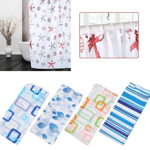 Shower Curtain With Hooks Waterproof Moisture Proof Curtain