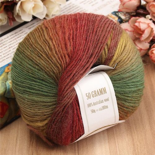 50g Soft Chunky Knitting Crochet Yarn 100% Fine Wool Ball Colorful Craft Yarn-15