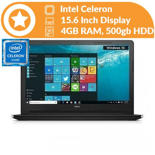 Inspiron 15 Intel Celeron 500GB HDD 4GB RAM - Windows 10 +32GB Flash Drive