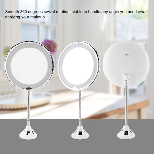 Beauty Make-up LED Glass Magnifying Mirror Travel Makeup Adjustable Vanity Mirror 360 Degree Rotation Rotation Lock