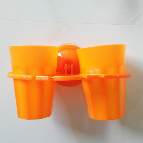 Creative Sucker Toothbrush Holder Mouthwash Cup Couple Orange