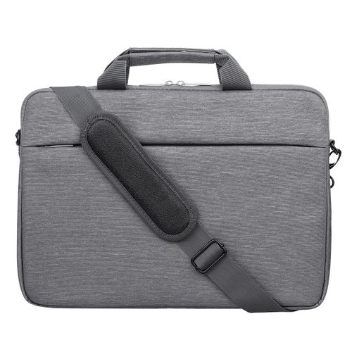 15.6 Inch Plus Velvet Cationic Gray Fabric Computer Bag Shoulder Strap