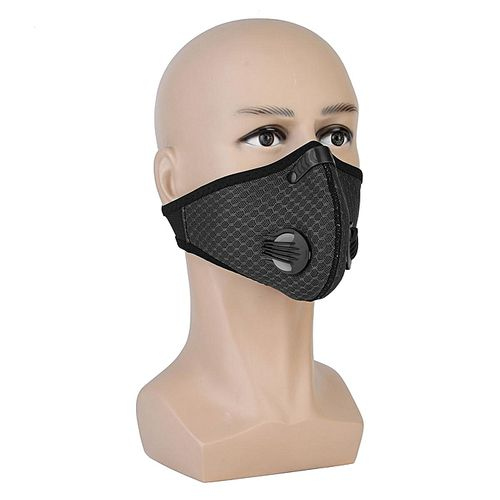 Cycling Face Mask Activated Carbon Air Filter Motorcycle Outdoors Masks Mouth-Muffle Dust Half Face Cover Black