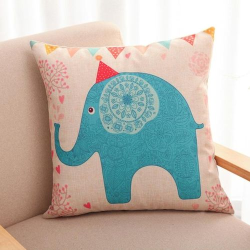 Houseworkhu Lovely Elephant Throw Pillow Case Home Decorative Cushion Pillow Cover -As Shown所示