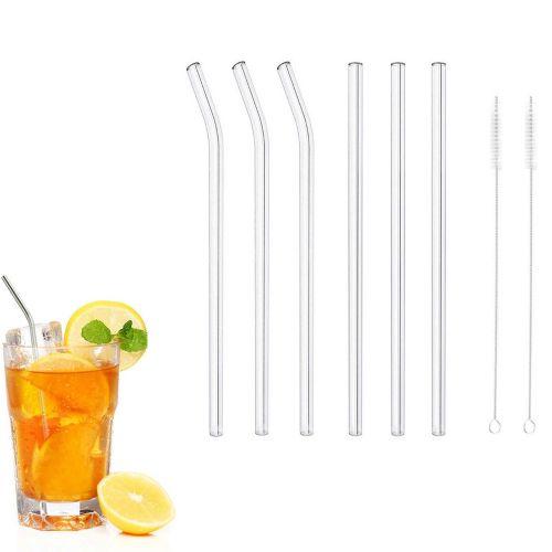 Reusable Glass Smoothie Straws Drinking Straws For Milkshakes Frozen Drinks