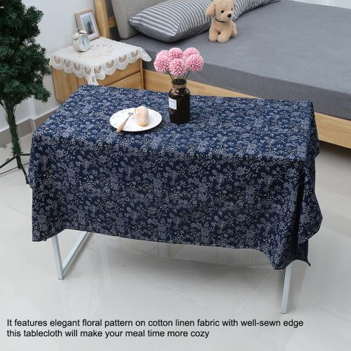 Blue Floral Pattern Tablecloth Japanese Style Cotton Linen Table Cloth Cover For Home