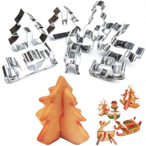 Stainless Steel Cookie Cutter 8 Piece Set 3D Christmas Three-dimensional Cookie Printing Cake Mold
