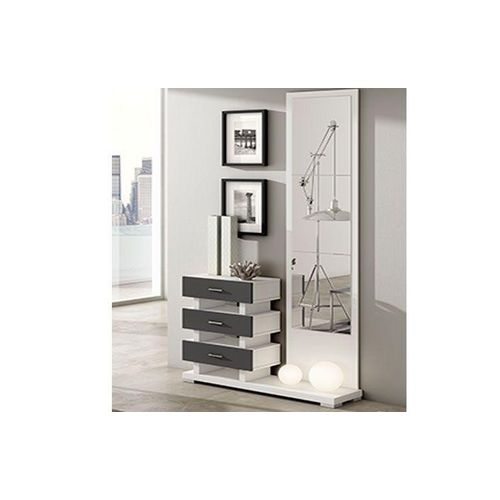 Mirror And Console - White & Ash