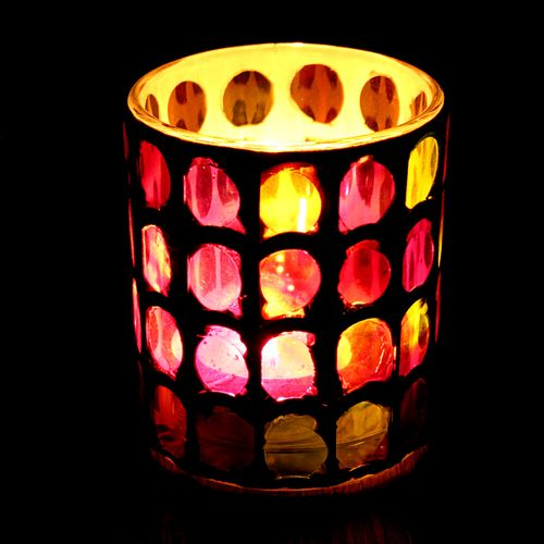 Mosaic Glass Candle Holders Tealight Votive Holder Decor Table Lamp Candleholder