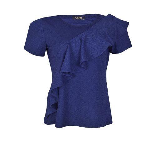 Frill Detail Short Sleeve Blouse - Navy Blue