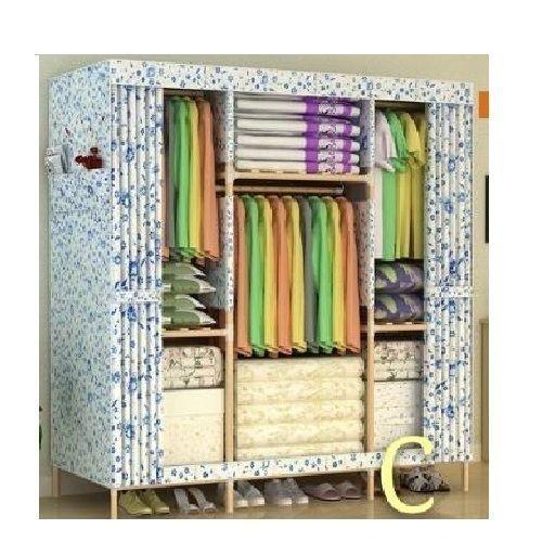 Wooden Mobile Wardrobe - 3 Columns Multicompartments