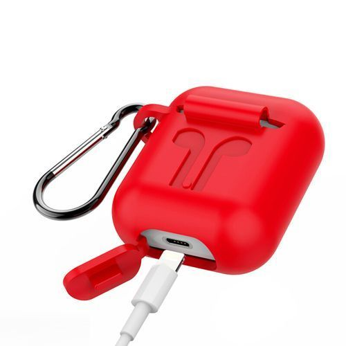 Silicone Case With Portable Hook For Iphone Earpod - Red