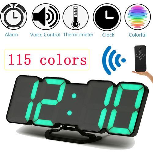 Loskii Digital 3D LED Wall USB Desk Clock Alarm Clock Snooze 12/24 Hour