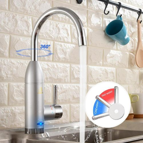 360° Electric LED Fast Instant Water Heater Kitchen Adjustable Faucet Safe Tap Lateral Inlet/Under Inlet