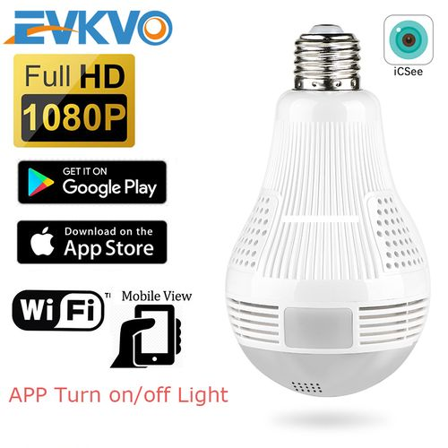 EVKVO BULB IP CAMERA 360Degree Wifi 1080P Home Security CCTV
