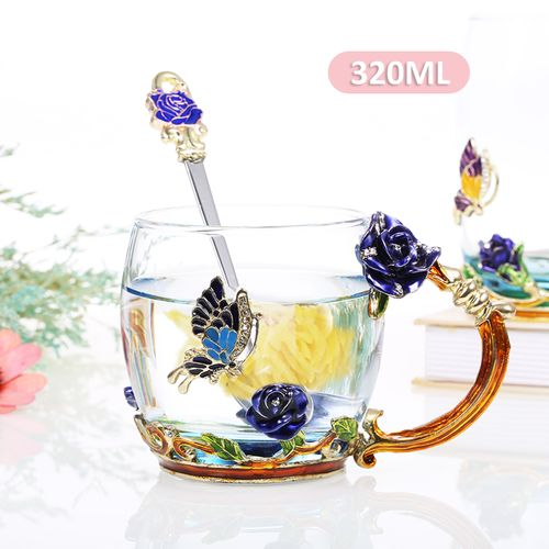 Blue Rose Enamel Craft Water Cup Drink Mug With Handle