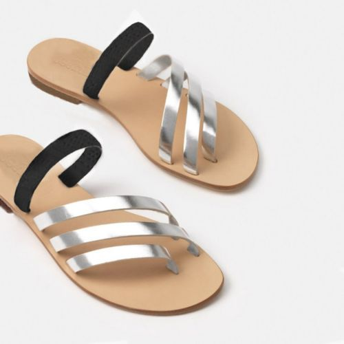 The Capriana Silver And Black Ladies Sandals Slippers