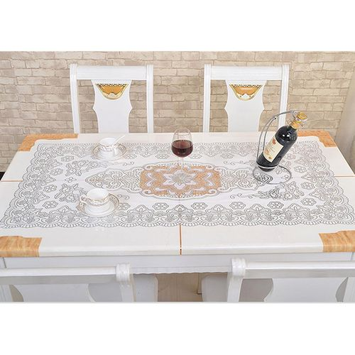 60*100cm Fashion PVC Gold Table Cloth Stamp Right Sngle Rectangle Tablecloth Dustproof Table Cover For Home Party Decor Living Room Restaurant Coffee Table Decoration