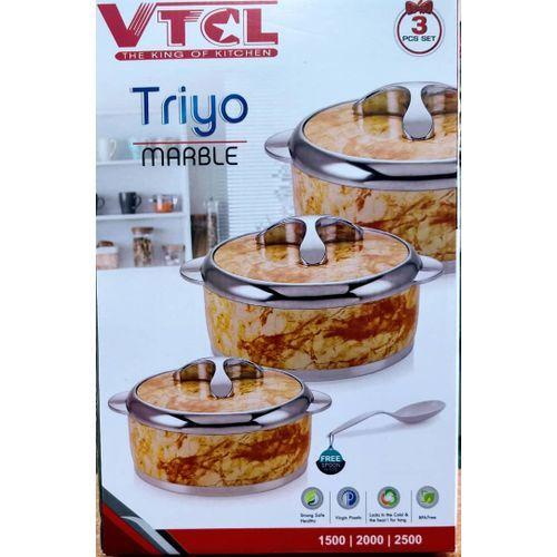 VTCL Set Of 3 Triyol Marble Food Warmer Serving Dish