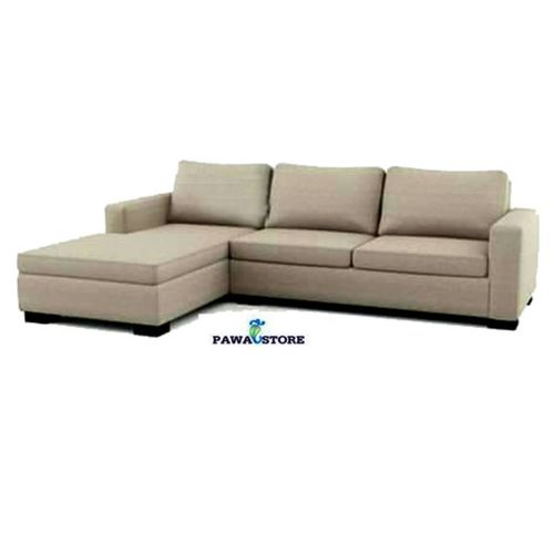5 Seater L Shape Fabric Sofa (CREAM) + Free Ottoman (Delivery To Lagos Only)