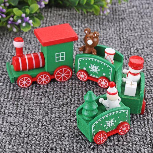 Christmas Wooden Train Santa Claus Xmas Festival Ornament Home Decor Kids Gift