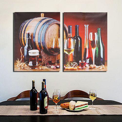 KiWarm 2 Pcs/set Unframed Painting Wine Barrel Pattern Canvas Painting Art Picture For Home Room Decoration Art Sets 40X30cm-Multi