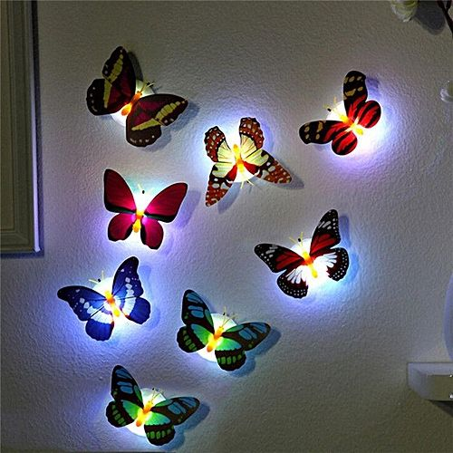 5Color Changing Butterfly LED Light Night Lamp Fairy Party Decor Self-adhesive