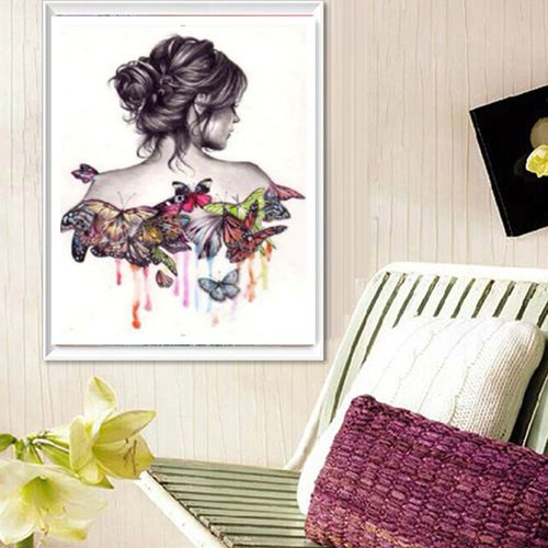 Butterfly Beauty DIY 5D Diamond Embroidery Painting Cross Stitch Home Decor Craft Wall Hanging