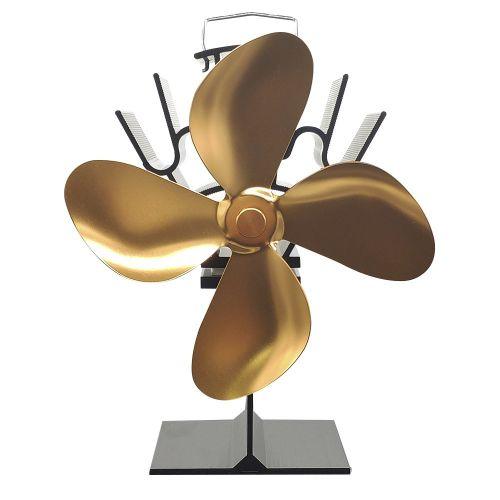 EQ2-BK-4G 4 Blades Thermal Powered Fireplace Fan Green Heat Energy Stove Black