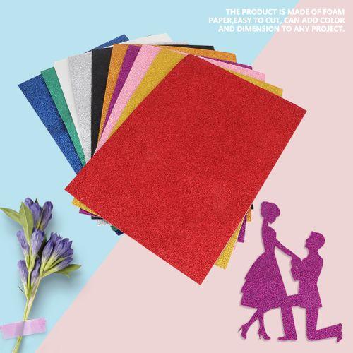 10 Pcs EVA Sponge Paper Sheets Colorful Sequins Thick Foam Paper With Glue Sponge Sheet For Kids Handmade DIY Craft