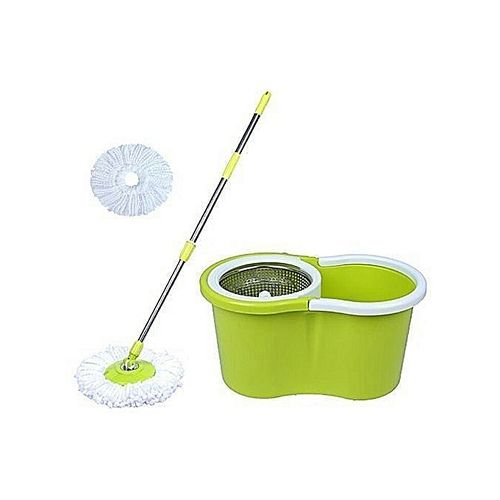 Magic Spin 360 Degrees Easiest Mop - 2- Mop Heads & Bucket (SMALL)