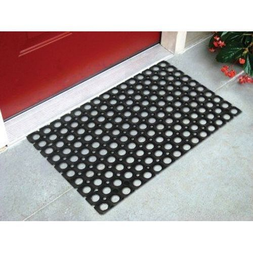 Anti-Slip Pure Rubber Electric Insulated Perforated Hollow Rain Water Resistant Door Foot Mat