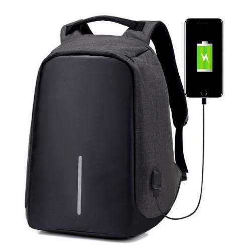 Anti Theft Security Travel Backpack & Laptop Bag With USB Charging Port -Bobby 1-stripe - Black