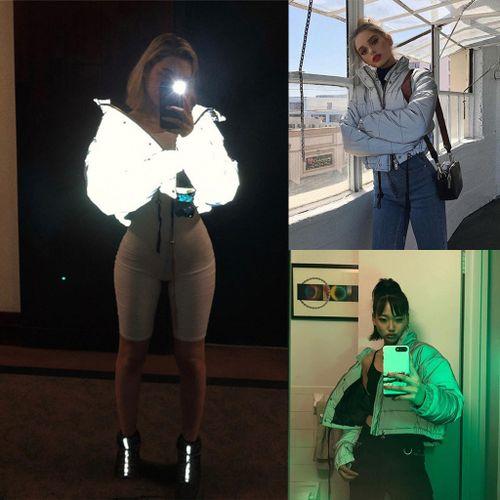 Huskspo Winter Fashion Reflective Short Keep Warm Women Casual Coat Top Ladies Jackets