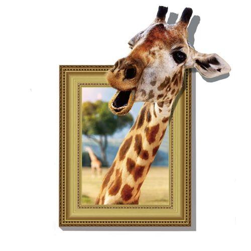 3D Giraffe Livingroom Bedroom Animals Floor Home Background Wall Decor Creative Stickers