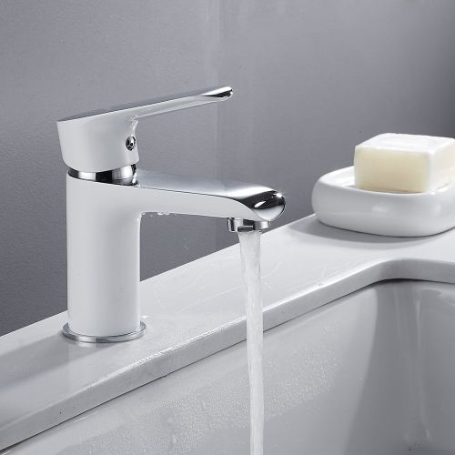 Bathroom Faucet Basin Mixer Faucet Waterfall Deck Mounted Chrome Sink Tap Vanity Hot Cold Water Faucet White Painting Tap Faucet