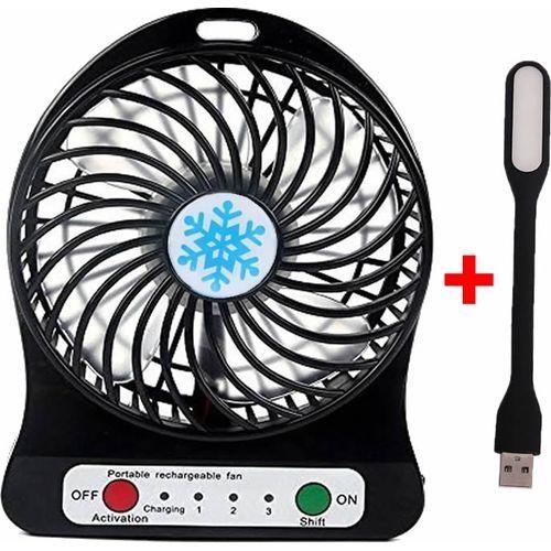 Portable Rechargeable Fan Black + LED Light